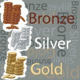 Pièces de monnaie d'or, d'argent et de bronze Image stock