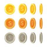 Pièces de monnaie d'or de bande dessinée dans différentes positions, ensemble de vecteur de secousse de pièce d'or Images stock