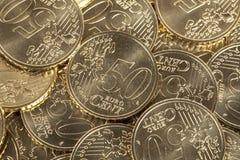 50 pièces de monnaie d'euro cent Images libres de droits