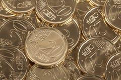 20 pièces de monnaie d'euro cent Photo libre de droits