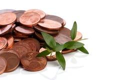 Pièces de monnaie d'euro cent et pousse verte Image stock