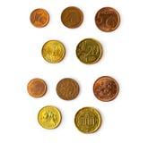 Pièces de monnaie d'euro cent réglées Image libre de droits