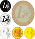 Pièces de monnaie d'un euro illustration libre de droits
