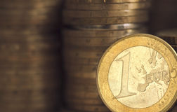 Pièces de monnaie d'un euro Photos stock