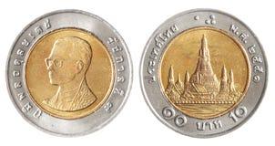 Pièces de monnaie de baht de la Thaïlande Images libres de droits