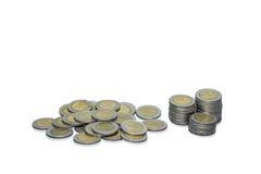 Pièces de monnaie de baht de la Thaïlande Images stock