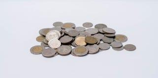 Pièces de monnaie de baht empilées ensemble Photo libre de droits