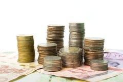 Pièces de monnaie de baht et argent de billet de banque Photos libres de droits