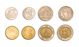 Pièces de monnaie de baht thaïlandais de la Thaïlande Images libres de droits