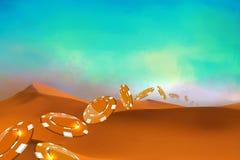 Pièces de monnaie de casino tombant dans les dunes de désert Image stock