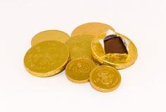 Pièces de monnaie de chocolat Images stock