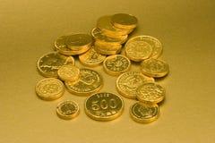 Pièces de monnaie de chocolat d'or photos stock