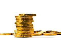 Pièces de monnaie de chocolat d'or   Image libre de droits