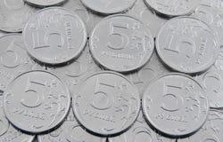 pièces de monnaie de cinq-rouble Images stock