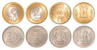 Pièces de monnaie de circulation d'Inde Photos libres de droits