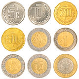 Pièces de monnaie de circulation du Mexique Photographie stock libre de droits