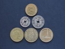 Pièces de monnaie de couronne danoise, Danemark photos stock