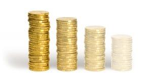 Pièces de monnaie de effacement de l'un dollar Photo stock