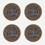 Pièces de monnaie de 1 EUR de Grèce Photo libre de droits