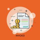 Pièces de monnaie de facture et de dollar Économisez la planification, économie d'argent, payant le concept de dette illustration de vecteur