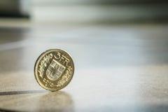 Pièces de monnaie de franc suisse Photo libre de droits
