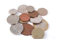 Pièces de monnaie de GBP Photos libres de droits
