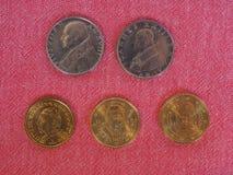 Pièces de monnaie de l'État de la Cité du Vatican Image stock