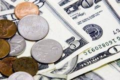 Pièces de monnaie de l'argent comptant n Photo stock
