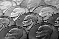 Pièces de monnaie de l'argent liquide américain argenté d'argent Images libres de droits