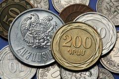 Pièces de monnaie de l'Arménie Photos stock