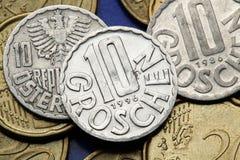 Pièces de monnaie de l'Autriche photographie stock libre de droits