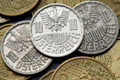 Pièces de monnaie de l'Autriche photographie stock