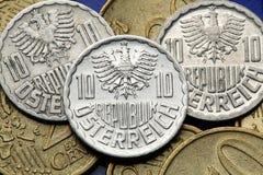 Pièces de monnaie de l'Autriche Photo stock