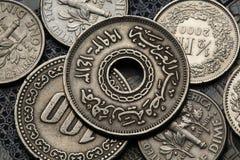 Pièces de monnaie de l'Egypte Photographie stock