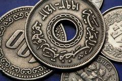 Pièces de monnaie de l'Egypte Photos stock