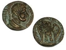 Pièces de monnaie de l'empire romain Photos stock