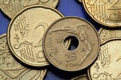 Pièces de monnaie de l'Espagne Images libres de droits