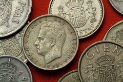 Pièces de monnaie de l'Espagne Le Roi Juan Carlos I photo libre de droits