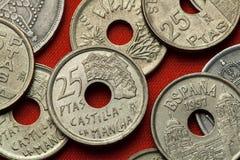 Pièces de monnaie de l'Espagne Maisons Colgadas à Cuenca, Castille-La Mancha Images libres de droits