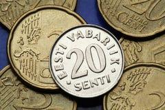 Pièces de monnaie de l'Estonie Photos libres de droits