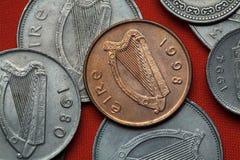 Pièces de monnaie de l'Irlande Harpe celtique Photo stock