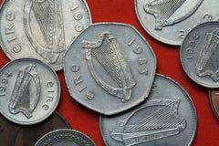 Pièces de monnaie de l'Irlande Harpe celtique Image libre de droits