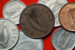 Pièces de monnaie de l'Irlande Harpe celtique Images stock