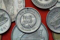 Pièces de monnaie de l'Islande Landvaettir de géant de montagne Image libre de droits