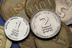 Pièces de monnaie de l'Israël Image libre de droits