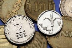 Pièces de monnaie de l'Israël Photographie stock libre de droits
