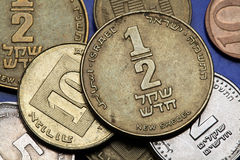 Pièces de monnaie de l'Israël Photos libres de droits