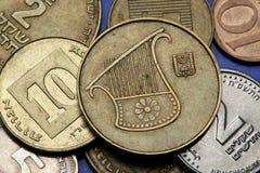 Pièces de monnaie de l'Israël Photos stock