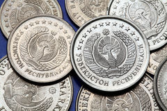Pièces de monnaie de l'Ouzbékistan Image libre de droits