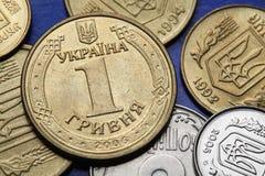 Pièces de monnaie de l'Ukraine Photos libres de droits